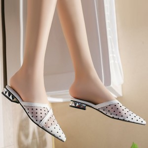 Summer Party Slippers Transparent Low-heeled Dots - White