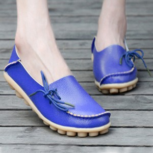 Best Selling Women Fashion Flats Casual Leather Shoes Dark Blue
