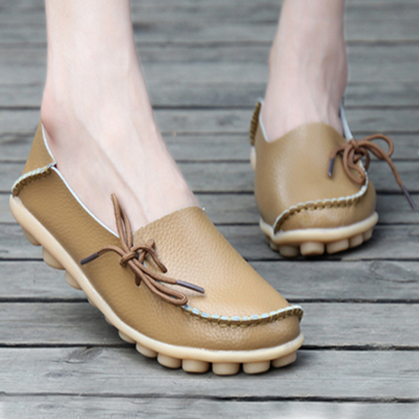 Best Selling Women Fashion Flats Casual Leather Shoes Khaki