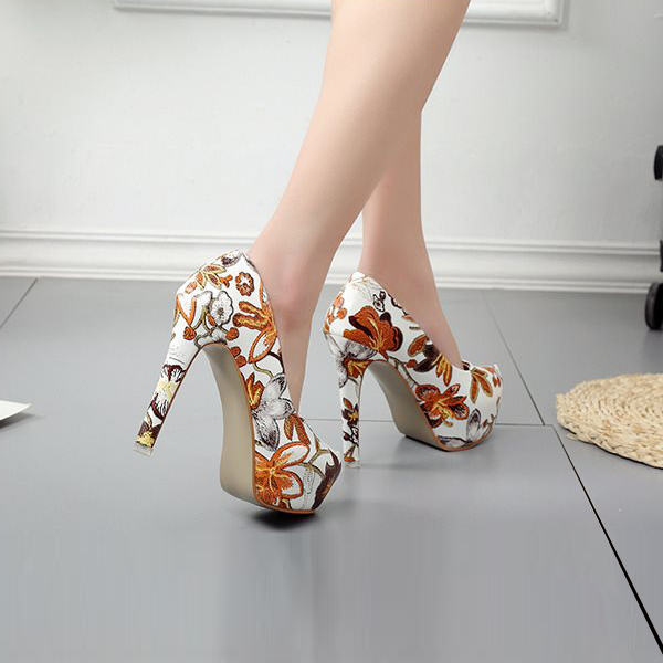 Floral Prints High Heels Party Wear Sandals
