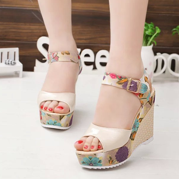High Heel Printed Sandals Fish Mouth Waterproof Shoes Apricot