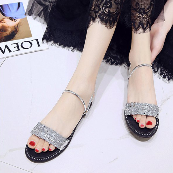 Flat Wear Shiny Party Wear Sandals - Silver