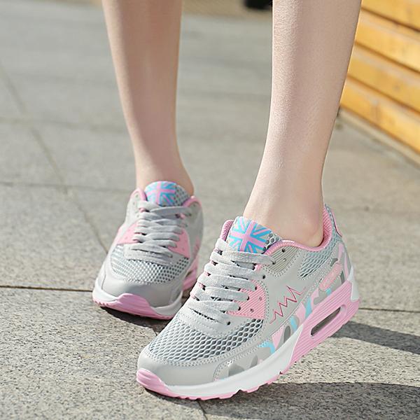 High Top Fashion Sneakers Women Trainers Footwear Grey Pink