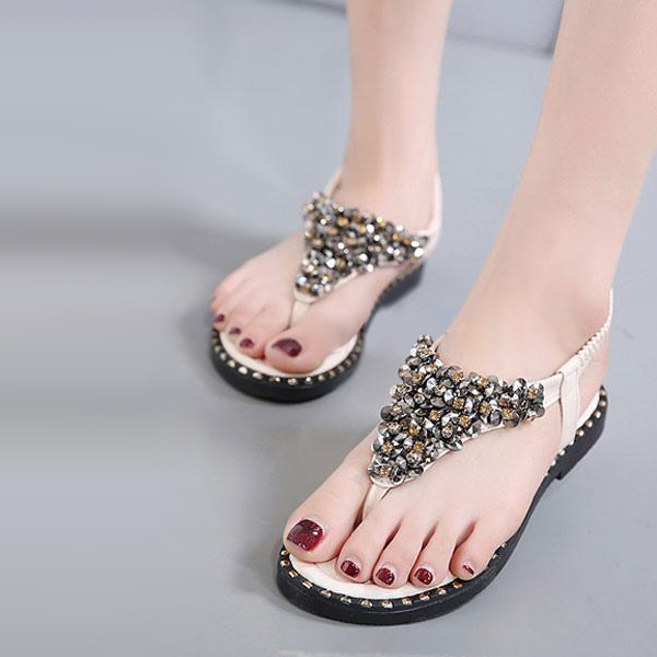 Rhinestones Decorated Elastic Closure Sandals - White