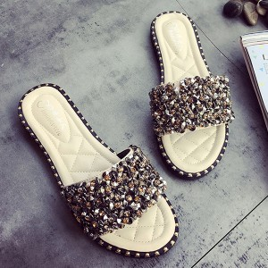 Rivets Decorated Flat Sandals - White
