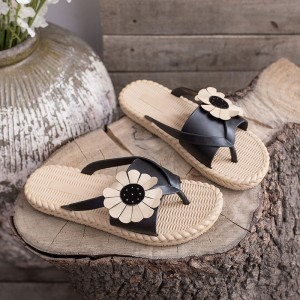 Floral Patched Flat Wear Fancy Slippers - Black
