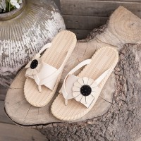 Floral Patched Flat Wear Fancy Slippers - Beige