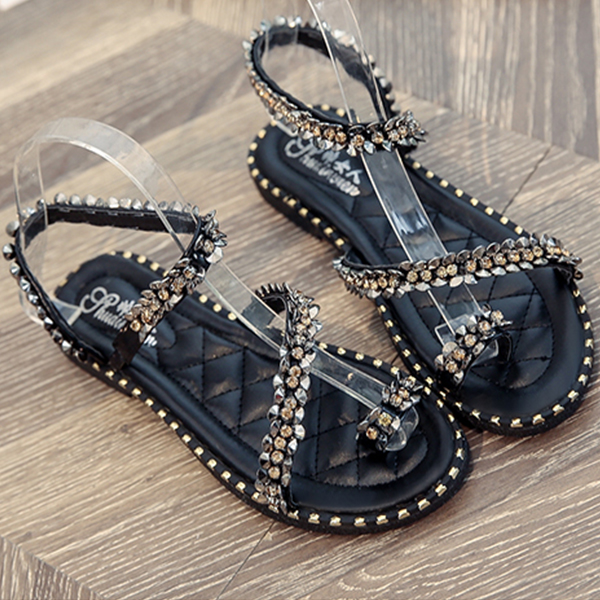 Strappy Rivets Style Flat Sandals - Black