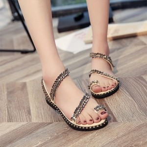 Strappy Rivets Style Flat Sandals - White