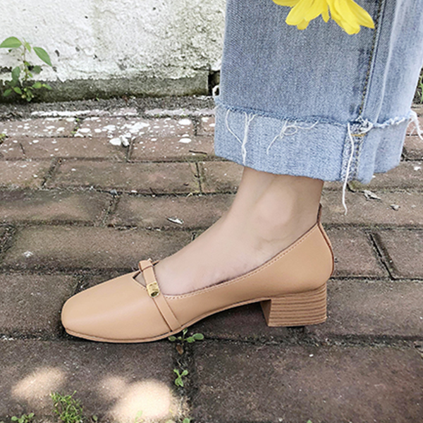 Medium Heels Buckle Patched Casual Shoes - Brown