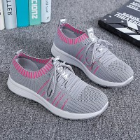 Woven Casual Breathable Mesh Soft Bottom Shoes - Gray