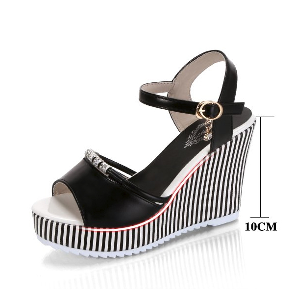 Striped Thick Bottom Black Party Wear Sandals