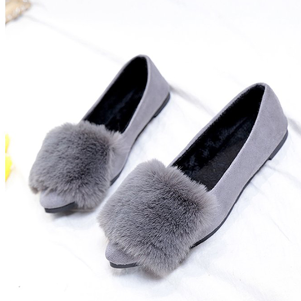 Silky Hairy Shallow Mouth Velvet Shoes - Grey