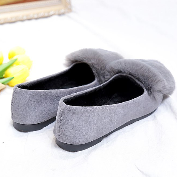 Furry Flat Bottom Casual Wear Party Shoes - Grey