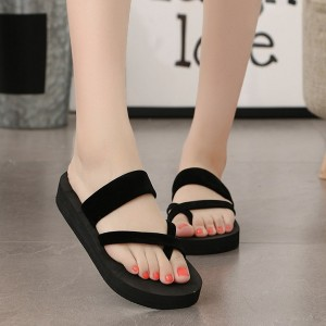 Thick Bottom Strapped Velvet Women Sandals - Black