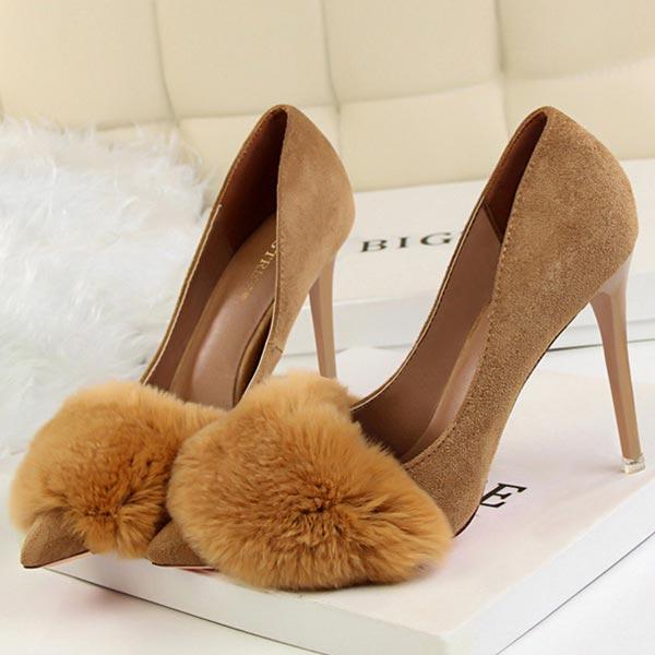 Sexy Rabbit Fur Suede Pointed Women Pencil Heels - Khaki
