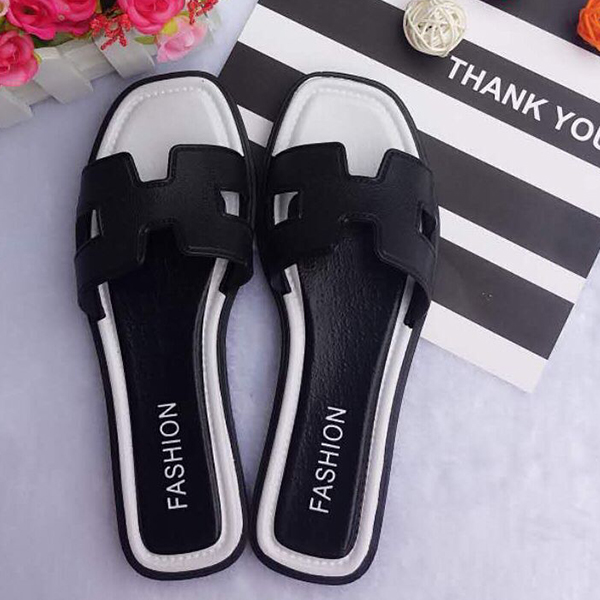 Hollow Cut Out Flat Wear Formal Slippers - Black