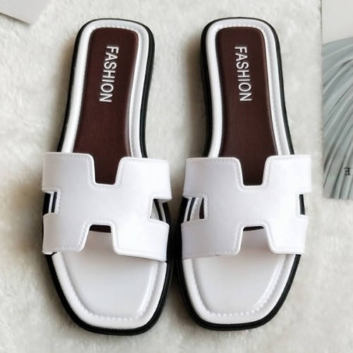 Hollow Cut Out Flat Wear Formal Slippers - White