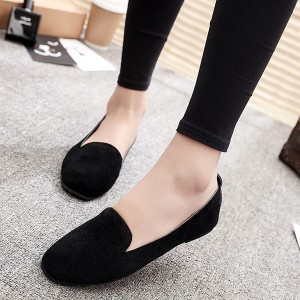 Shallow Mouth Slip Over Flat Suede Shoes - Black