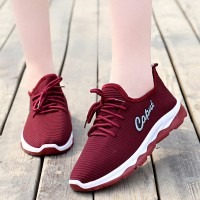 Mesh Pattern Solid Color Sports Sneakers - Burgundy
