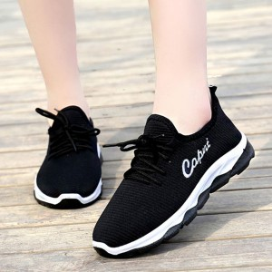 Mesh Pattern Solid Color Sports Sneakers - Black