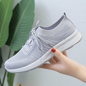 Outdoor Casual Breathable Mesh Flat Bottom Shoes - Gray
