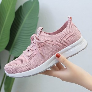 Outdoor Casual Breathable Mesh Flat Bottom Shoes - Pink