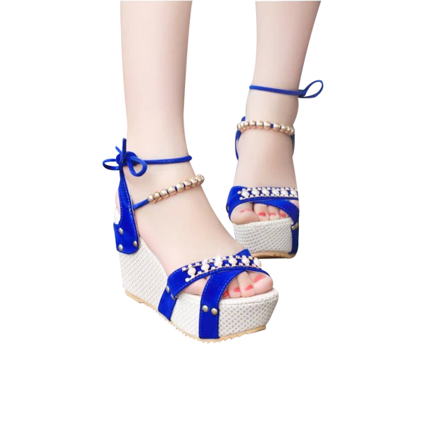 New Rhinestone Heel And Lace Blue Sandals For Women