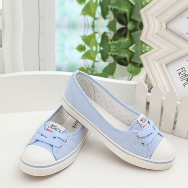 e0334149391be Women Flat Cotton Fabric Loafers Shoes Casual Girl Shoes Sky Blue
