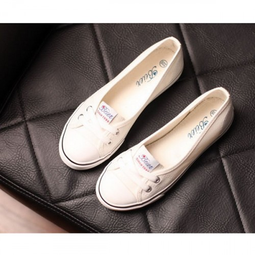 Women Flat Cotton Fabric Loafers Shoes Casual Girl Shoes White