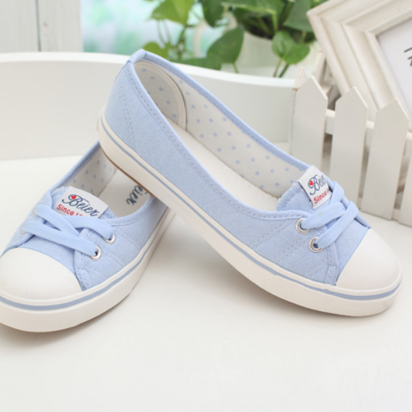 Women Flat Cotton Fabric Loafers Shoes Casual Girl Shoes Sky Blue