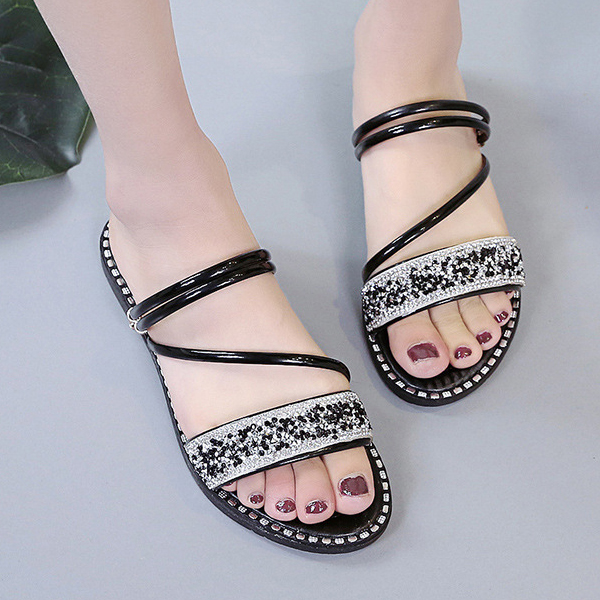 Crystal Shiny Decorative Flat Party Slippers - Black
