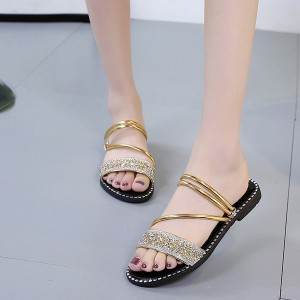Crystal Shiny Decorative Flat Party Slippers - Golden