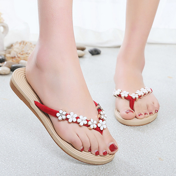 Flat Feet Comfort Summer Slippers - Red