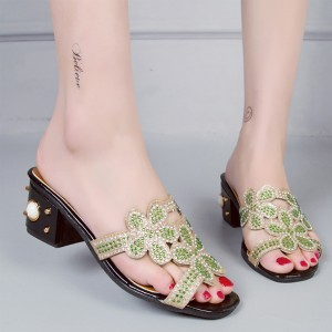 Pearl Party Wear Decorated Sandals - Green