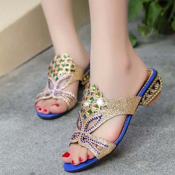 Sparkling Rhinestone Decorated Blue Flat Sandals