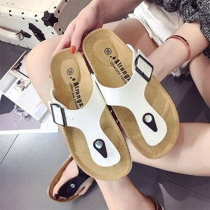 Unisex Buckle Flip Flops Flat Wear Summer Slippers - White