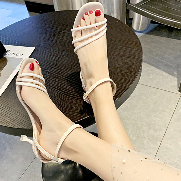 Strap Buckle Special Heel Party Sandals - Beige