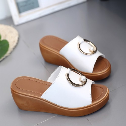 Pearl Patched Thick Bottom Party Wear Sandals - White