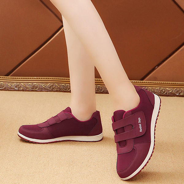 Loop Closure Soft Base Casual Sneakers - Burgundy