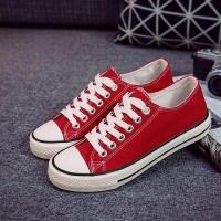 Canvas Flat Sole Women Wear Fashion Sneakers - Red