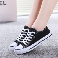 Casual Wear Canvas Flat Sneakers - Black
