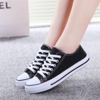 Casual Wear Canvas Flat Sneakers - Black