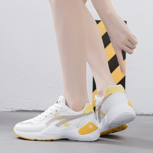 Flat Bottom Pu Leather Women Running Sports Shoes - Yellow