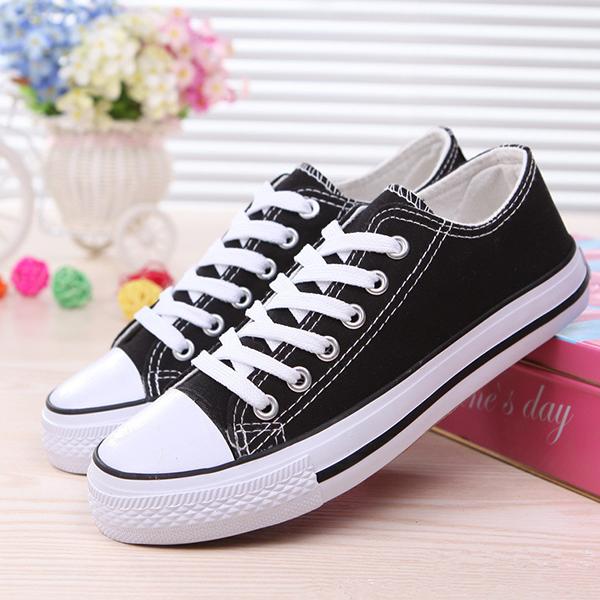 Daily Wear Flat Striped Canvas Sneakers - Black