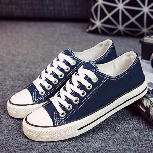 Daily Wear Flat Striped Canvas Sneakers - Blue