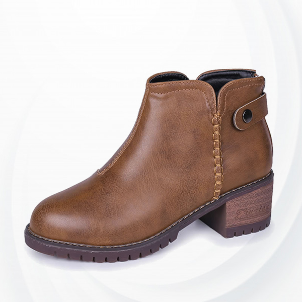 Non Slippy Hard Bottom Pu Leather Winter Boots - Brown
