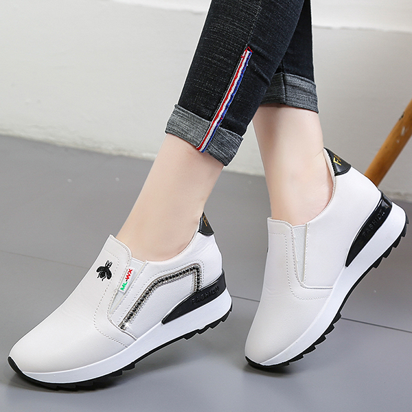 Shiny Patched Zipper Closure Sneakers - White