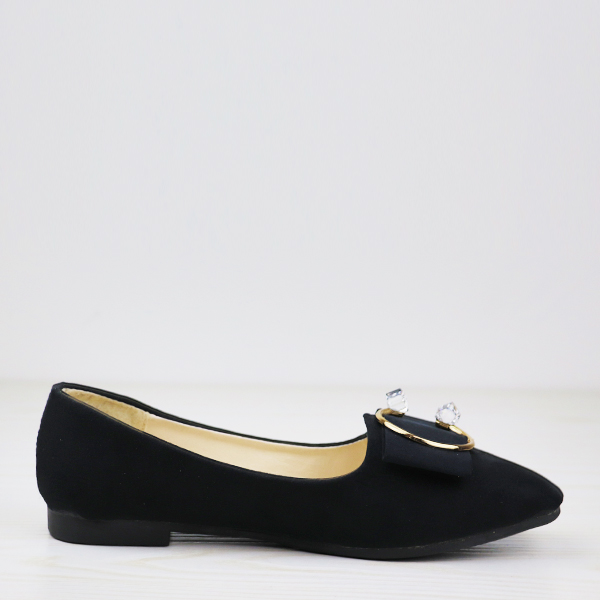 Square Crystal Suede Flat Party Wear Shoes - Black