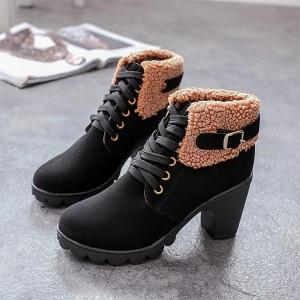 Dual Closer Woolen Pattern Female Army Boots - Black